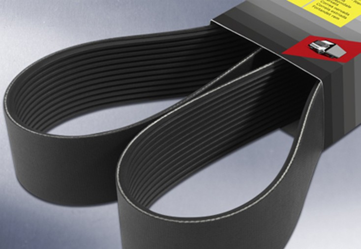 Commercial-vehicle ribbed V-belts with high-tech cords